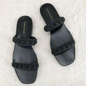 STUART WEITZMAN Black Rosita Slide Flatform Sandal